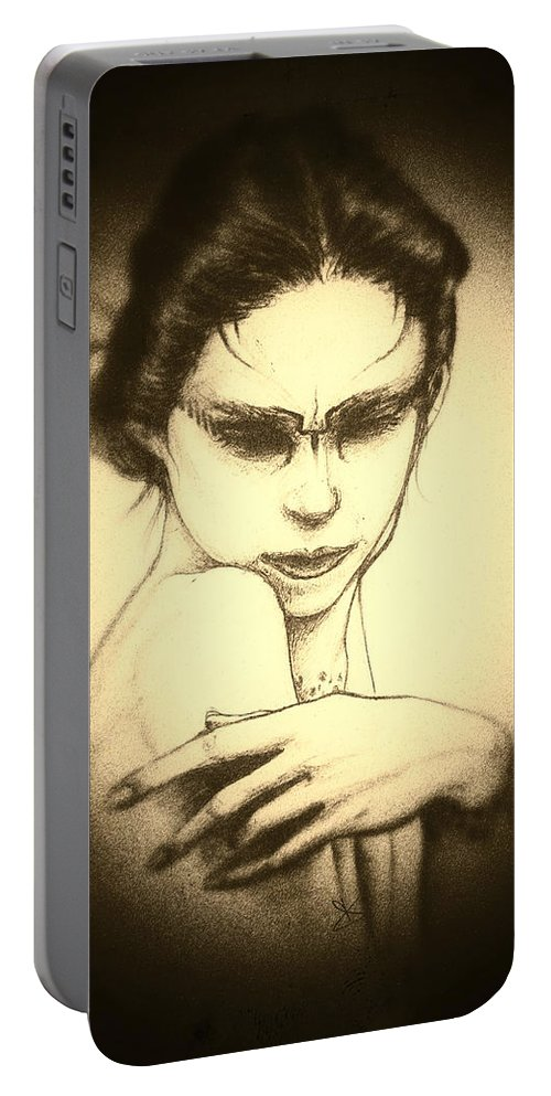 Black Portable Battery Charger featuring the painting Gratia Plena by Dino Olivieri