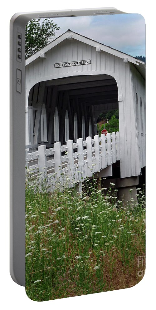 Grave Creek Covered Bridge Portable Battery Charger featuring the photograph Grave Creek Bridge by Methune Hively