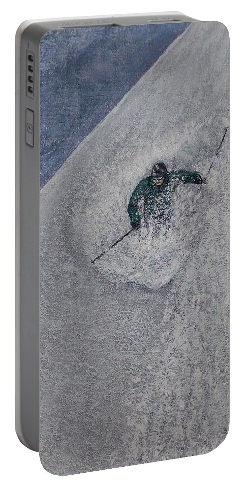 Ski Portable Battery Charger featuring the painting Gravity by Michael Cuozzo