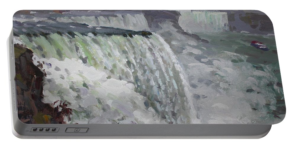 Gray Day Portable Battery Charger featuring the painting Gray And Cold At American Falls by Ylli Haruni
