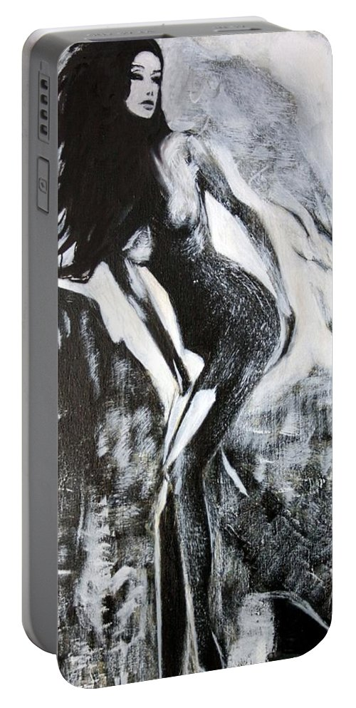 Beautiful Portable Battery Charger featuring the painting Gray Desert by Jarko Aka Lui Grande