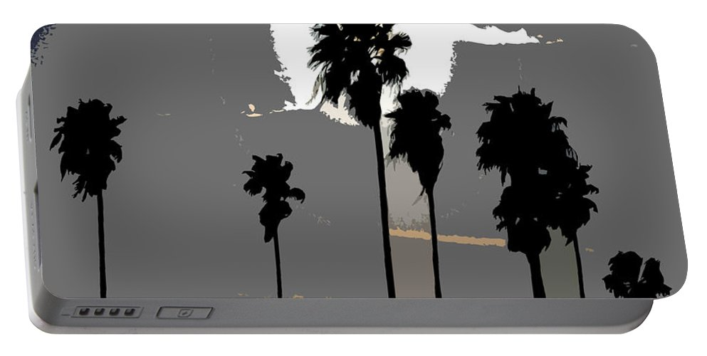 Palms Portable Battery Charger featuring the painting Gray Palms by David Lee Thompson