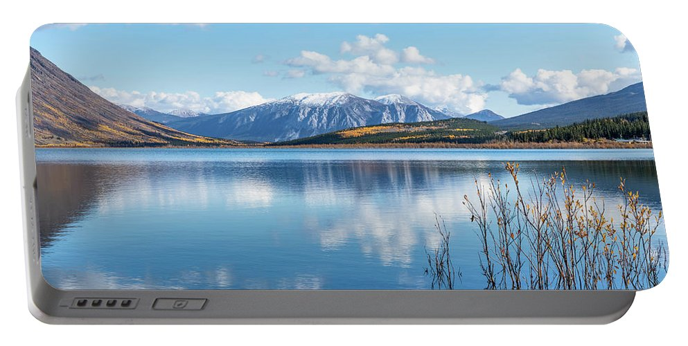 Carcross Portable Battery Charger featuring the photograph Grayling Bay by Martina Schneider