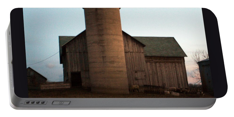 Barn Portable Battery Charger featuring the photograph Grazing at Dawn by Tim Nyberg