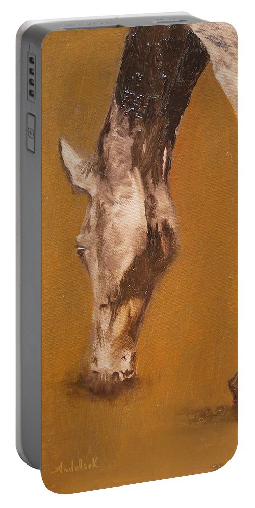 Animals Portable Battery Charger featuring the painting Grazing by Barbara Andolsek