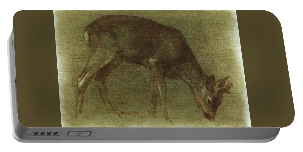 Roebuck Portable Battery Charger featuring the painting Grazing Roe Deer Oil Painting by Attila Meszlenyi