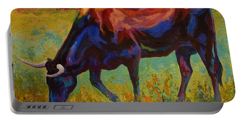 Longhorn Portable Battery Charger featuring the painting Grazing Texas Longhorn by Marion Rose