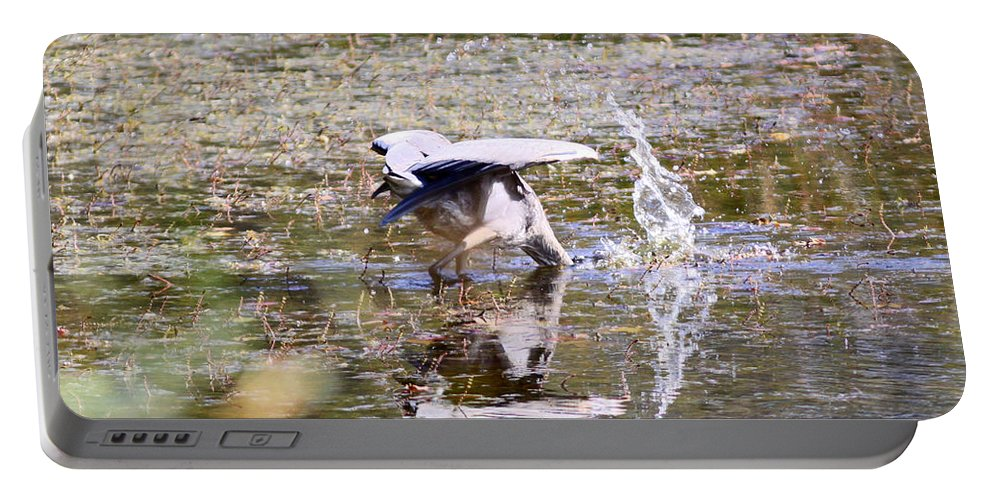 Great Blue Portable Battery Charger featuring the photograph Great Blue Fishing by Steve Bell