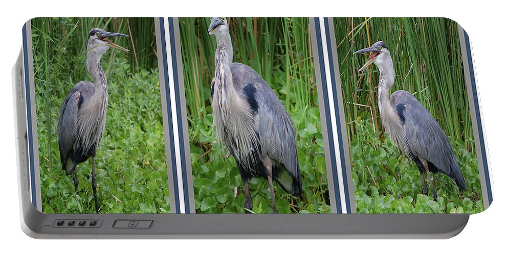 Bird Portable Battery Charger featuring the digital art Great Blue Heron Collage by DigiArt Diaries by Vicky B Fuller