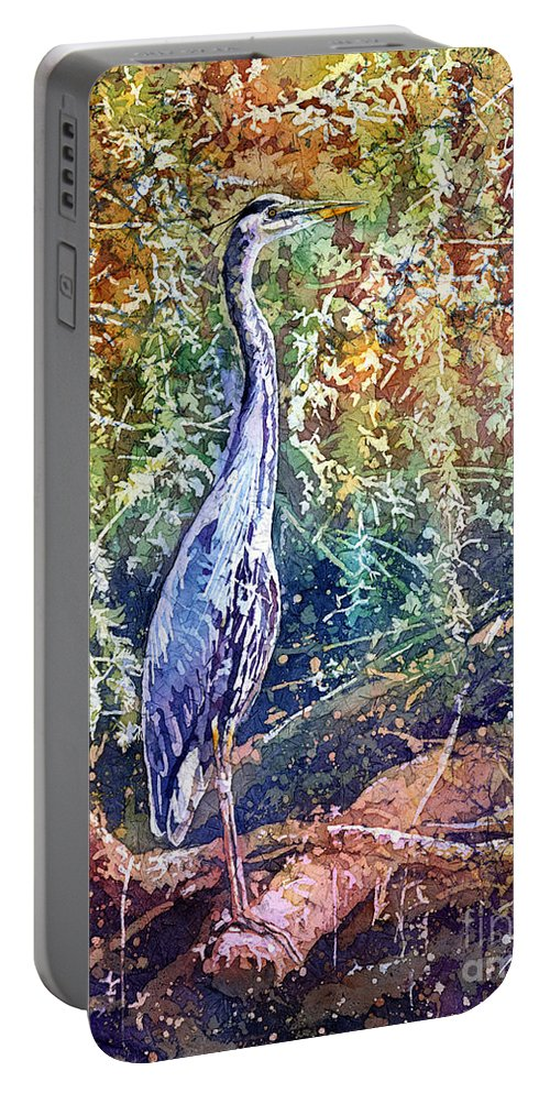 Heron Portable Battery Charger featuring the painting Great Blue Heron by Hailey E Herrera