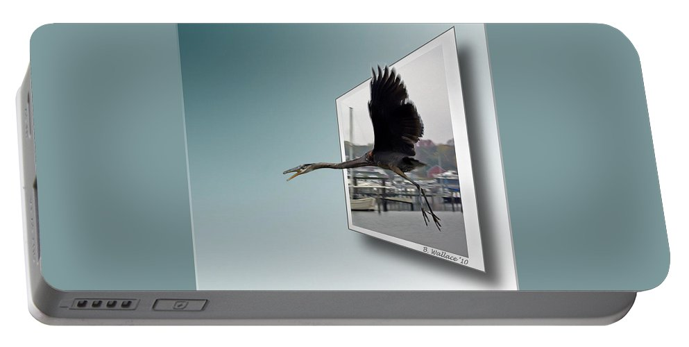 2d Portable Battery Charger featuring the photograph Great Blue Heron In Flight by Brian Wallace