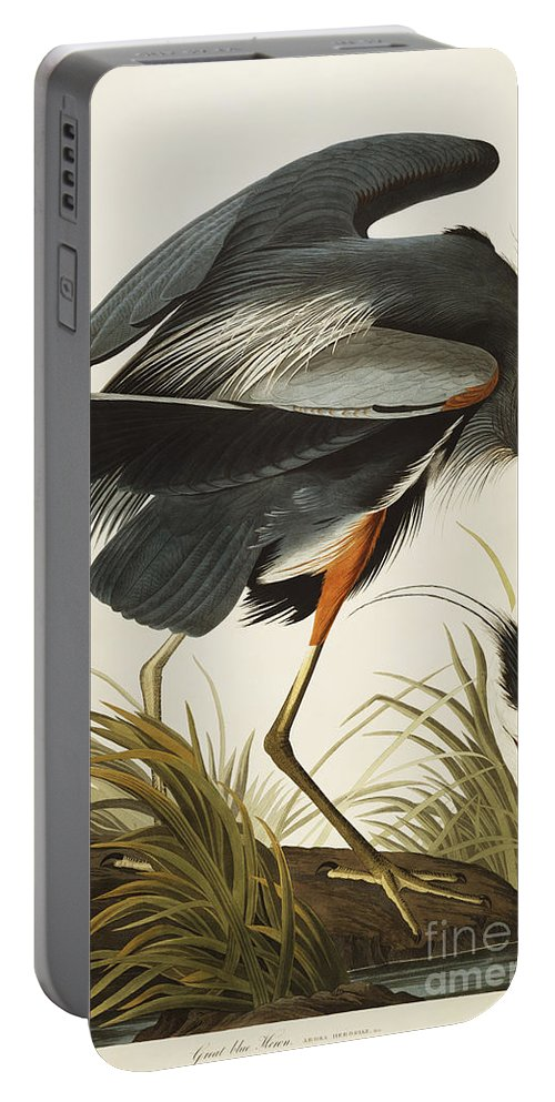 Great Blue Heron (ardea Herodias) Plate Ccxi From 'the Birds Of America' (aquatint & Engraving With Hand-colouring) By John James Audubon (1785-1851) Portable Battery Charger featuring the drawing Great Blue Heron by John James Audubon