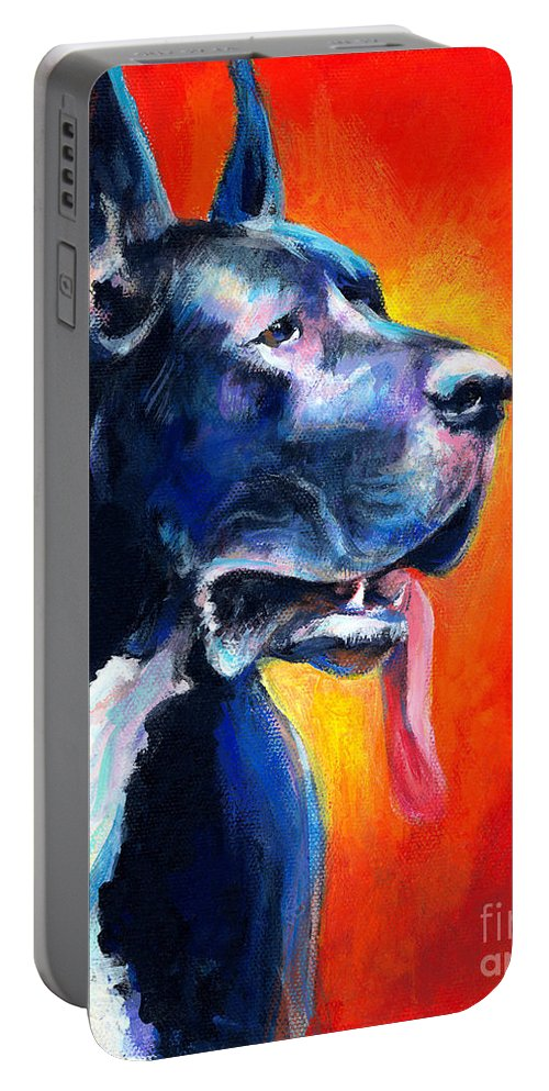 Black Great Dane Portable Battery Charger featuring the painting Great Dane Dog Portrait by Svetlana Novikova