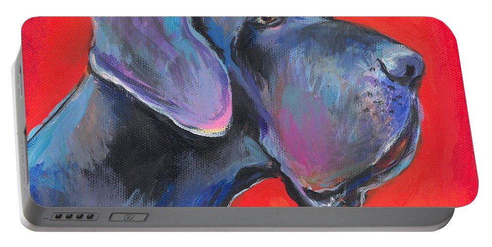 Great Dane Painting Portable Battery Charger featuring the painting Great Dane Painting by Svetlana Novikova