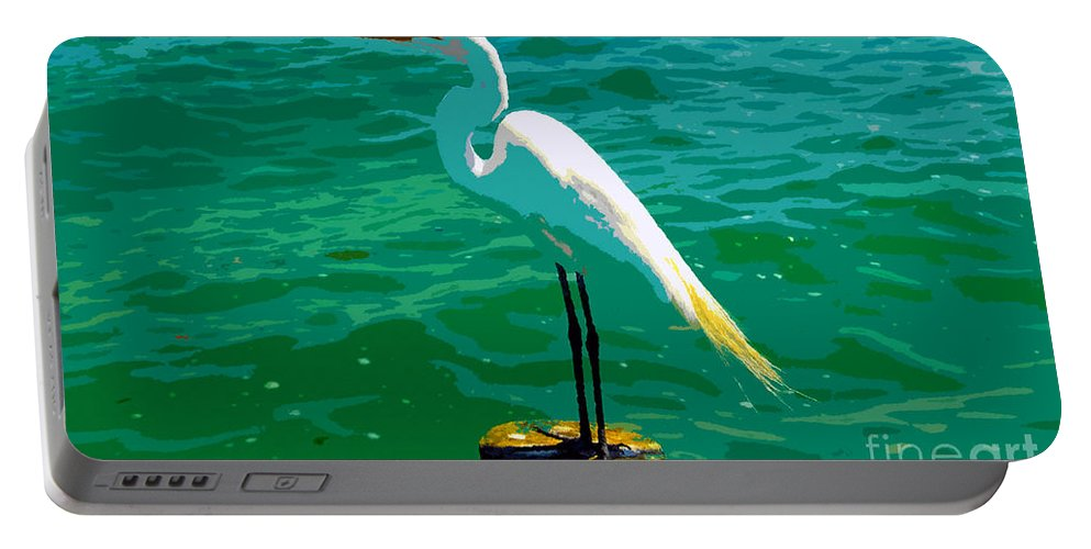 Great Egret Portable Battery Charger featuring the painting Great Egret Emerald Sea by David Lee Thompson