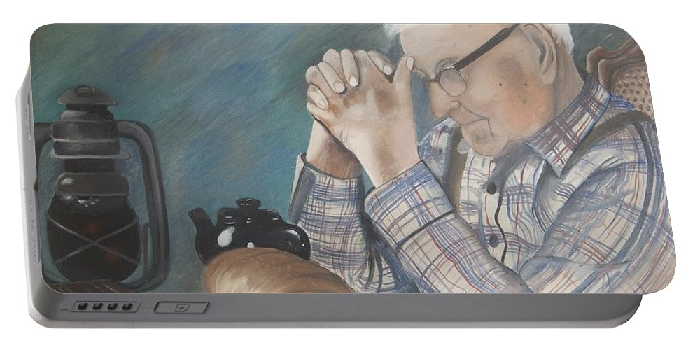 Great Grandpa Portable Battery Charger featuring the painting Great Grandpa by Jacqueline Athmann