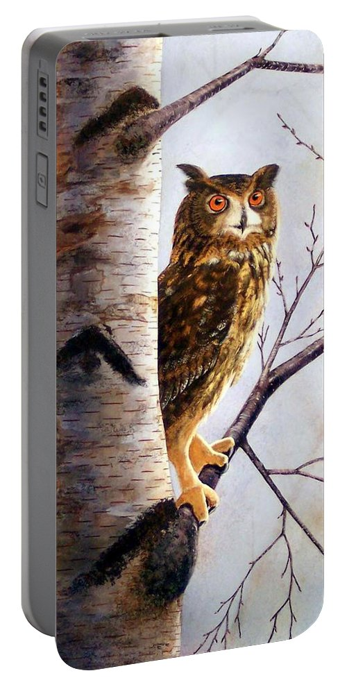 Great Horned Owl In Birch Portable Battery Charger featuring the painting Great Horned Owl In Birch by Frank Wilson