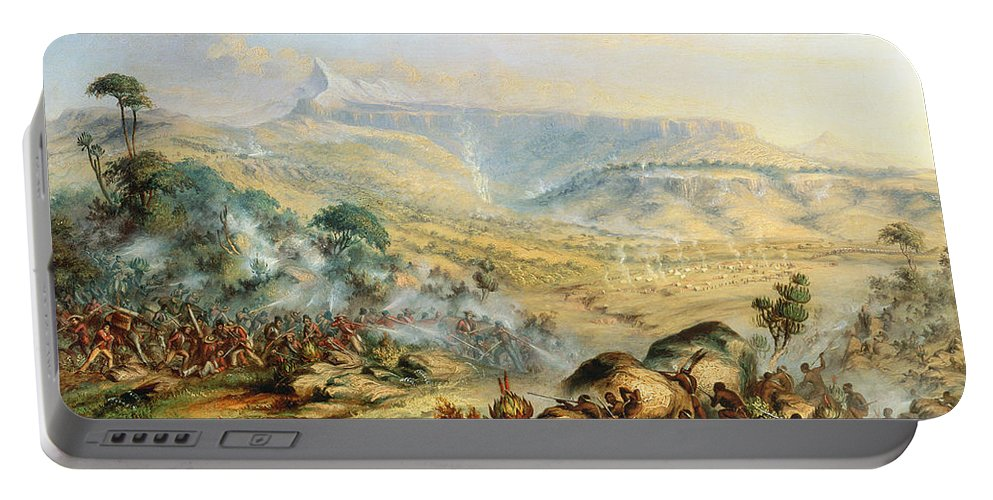 Battle; Africa; African; Africans; British; English; Fighting; Soldiers Portable Battery Charger featuring the painting Great Peak Of The Amatola-british-kaffraria by Thomas Baines