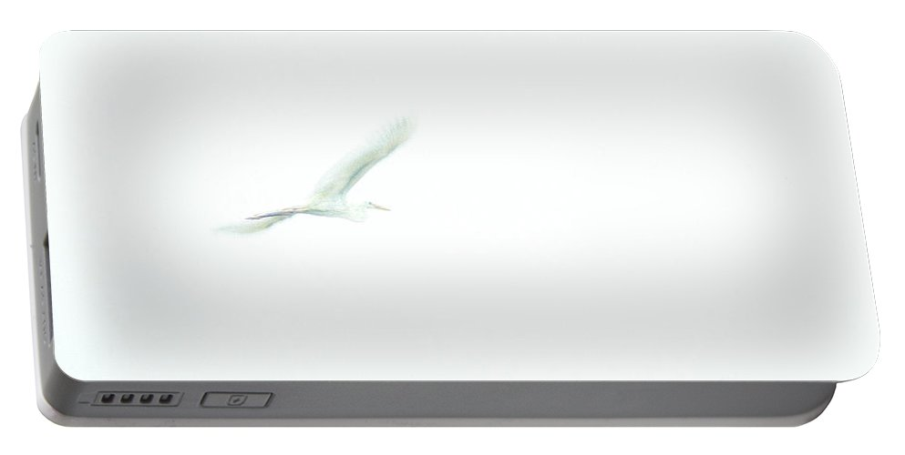 Great White Egret Portable Battery Charger featuring the photograph Great White Egret Impressionistic Style by John Harmon
