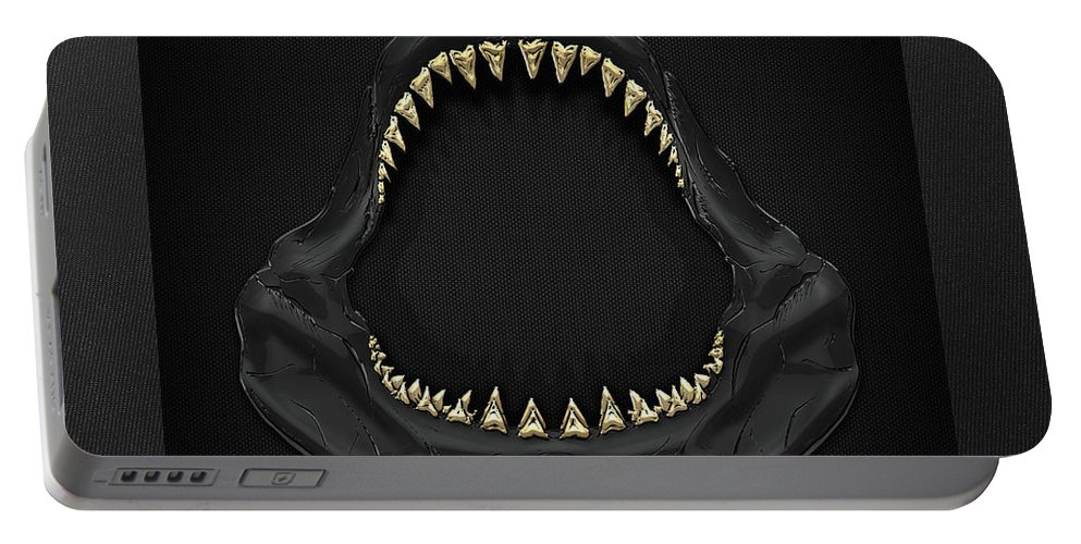 �black On Black� Collection By Serge Averbukh Portable Battery Charger featuring the photograph Great White Shark Jaws with Gold Teeth by Serge Averbukh