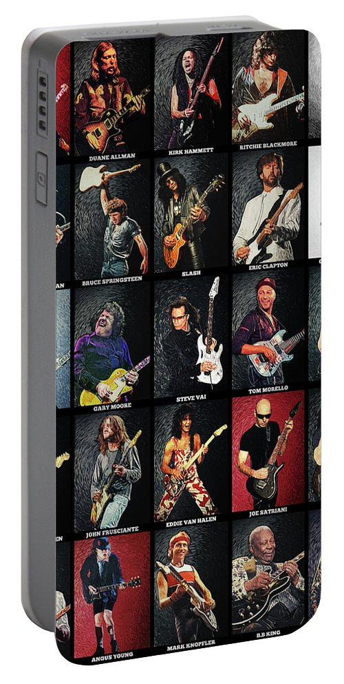 Guitar Portable Battery Charger featuring the digital art Greatest Guitarists Of All Time by Zapista OU