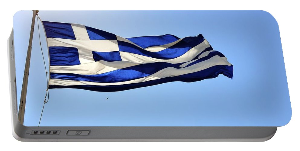 Greece Portable Battery Charger featuring the photograph Greek Flag by Corinne Rhode