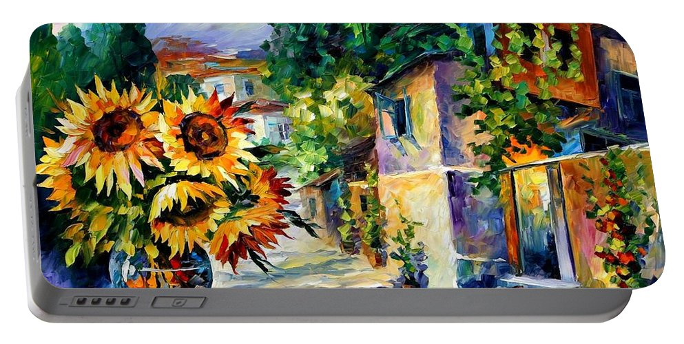 Afremov Portable Battery Charger featuring the painting Greek Noon by Leonid Afremov