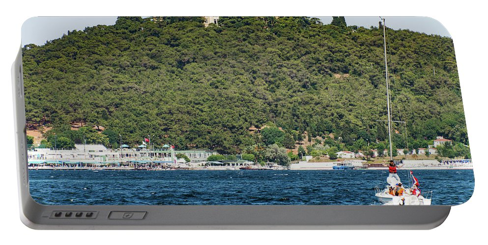 Heybeliada Island Portable Battery Charger featuring the photograph Greek Orthodox School And The Sea Of Marmara by Bob Phillips