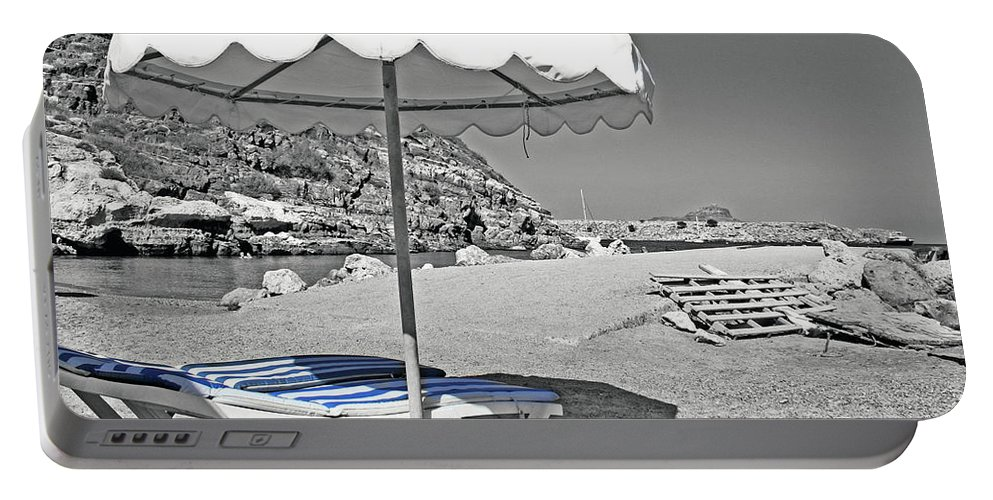 Greece Portable Battery Charger featuring the photograph Greek Umbrella by La Dolce Vita