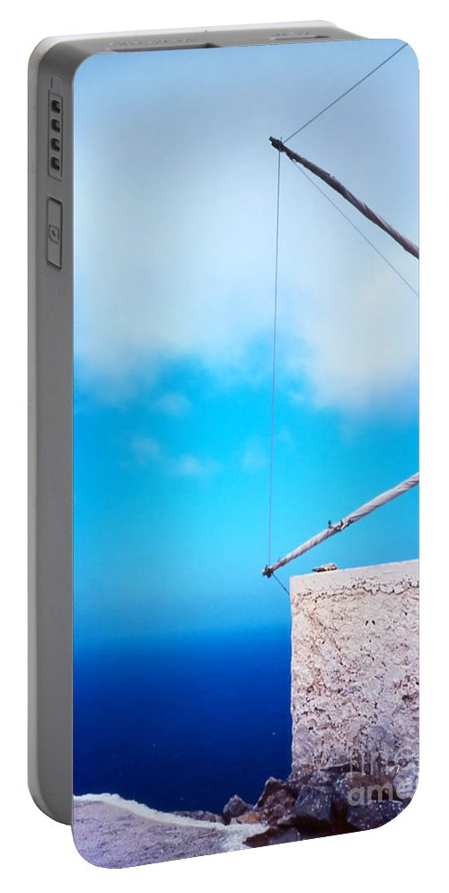 Blue Portable Battery Charger featuring the photograph Greek Windmill by Silvia Ganora