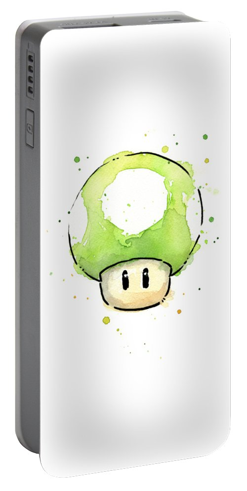 Video Game Portable Battery Charger featuring the painting Green 1up Mushroom by Olga Shvartsur