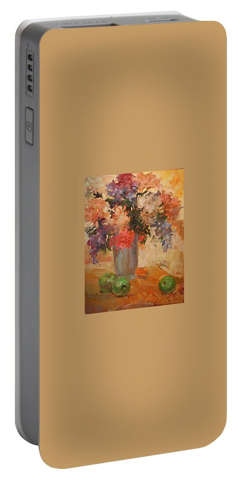 Still Life Portable Battery Charger featuring the painting Green Apples by Betty Jean Billups