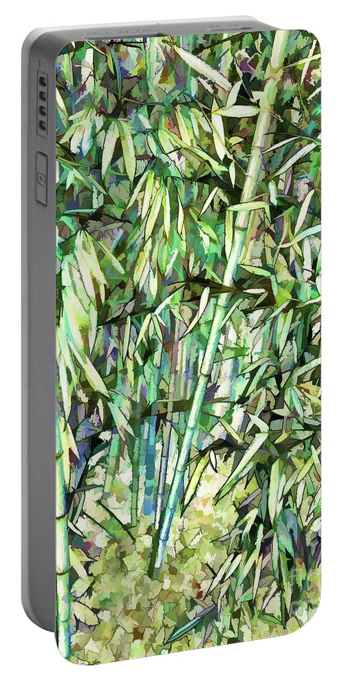 Art Of Bamboo Portable Battery Charger featuring the painting Green Bamboo Tree by Jeelan Clark