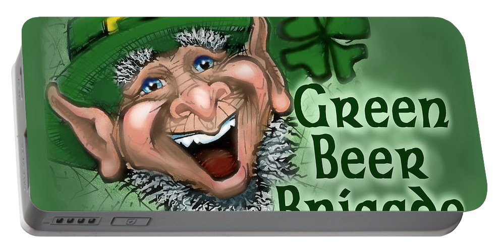 Green Beer Portable Battery Charger featuring the greeting card Green Beer Brigade by Kevin Middleton