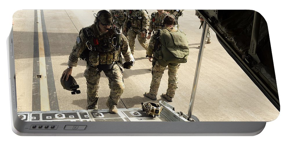 Exercise Emerald Warrior Portable Battery Charger featuring the photograph Green Berets Board A C-130h3 Hercules by Stocktrek Images
