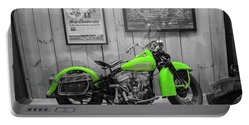 Portable Battery Charger featuring the photograph Green Bike by Tony Culpepper