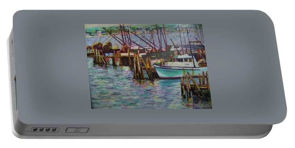 Boat Portable Battery Charger featuring the painting Green Boat At Rest- Nova Scotia by Richard Nowak