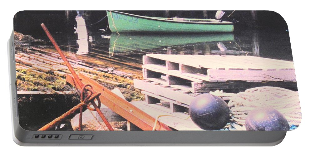 Green Portable Battery Charger featuring the photograph Green Boat by Ian MacDonald