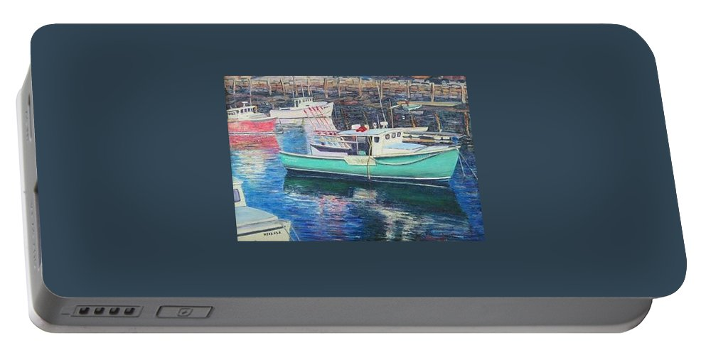 Water Portable Battery Charger featuring the painting Green Boat Reflections by Richard Nowak