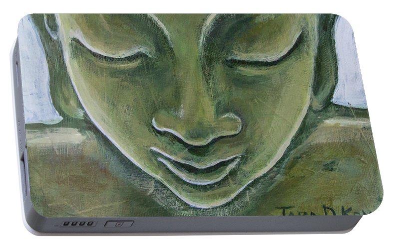 Tara Portable Battery Charger featuring the painting Jade Buddha by Tara D Kemp