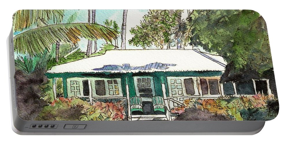 Cottage Portable Battery Charger featuring the painting Green Cottage by Marionette Taboniar
