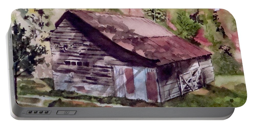 Barns Portable Battery Charger featuring the painting Green Creek Barn by Jean Blackmer