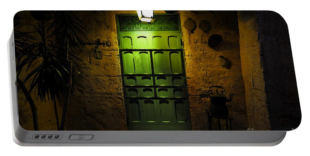 Doorway Portable Battery Charger featuring the painting Green Door by David Lee Thompson