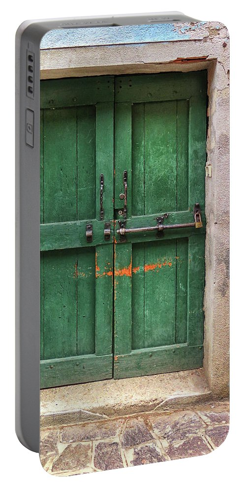 Burano Portable Battery Charger featuring the photograph Green Door In Burano by Dave Mills
