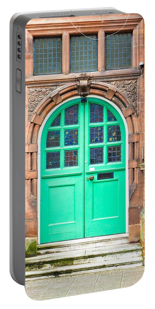 Address Portable Battery Charger featuring the photograph Green Door by Tom Gowanlock