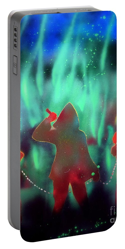 Justin Moore Portable Battery Charger featuring the painting Green Flames by Justin Moore