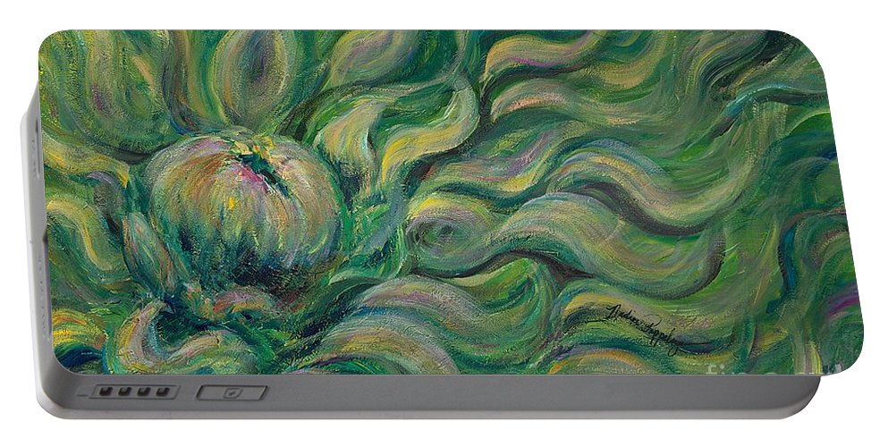 Green Portable Battery Charger featuring the painting Green Flowing Flower by Nadine Rippelmeyer
