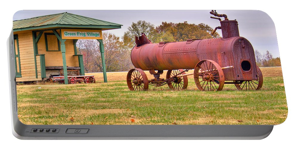 Green Portable Battery Charger featuring the photograph Green Frog Village Farm Implement by Douglas Barnett