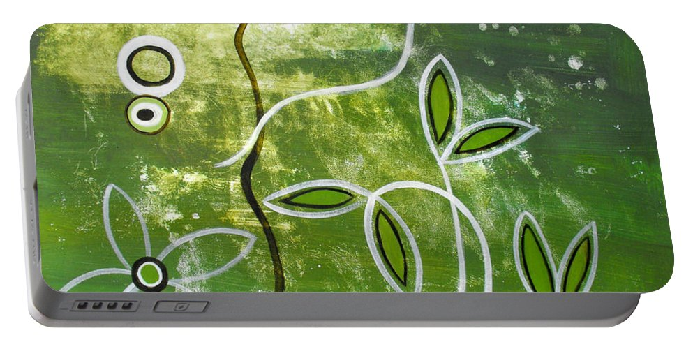 Abstract Portable Battery Charger featuring the painting Green Growth by Ruth Palmer