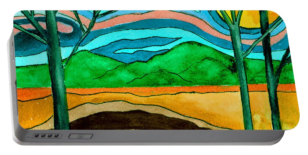 Watercolor Portable Battery Charger featuring the painting Green Hill Country by Brenda Owen